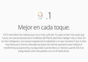 Pantalla de presentación de iOS 9.1
