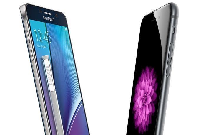Diseño del iPhone 6 Plus y Samsung Galaxy Note 5