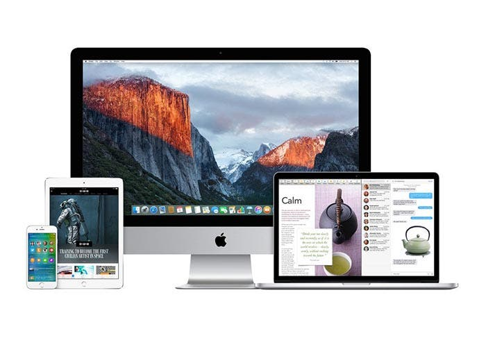 Mac, iPhone y iPad corriendo iOS 9 y OS X El Capitan