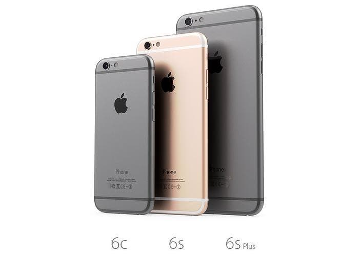 Vista trasera del iPhone 6c, 6s y 6 Plus