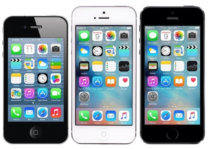 iPhone 4s, iPhone 5 y iPhone 5s corriendo iOS 9