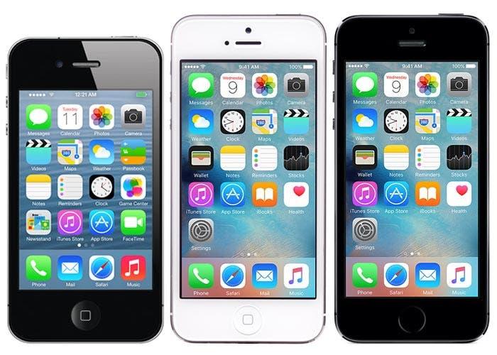 iPhone 4s, iPhone 5 y iPhone 5s corriendo iOS 9