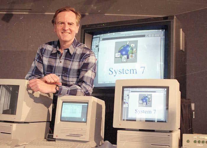 John Sculley con ordenadores Macintosh