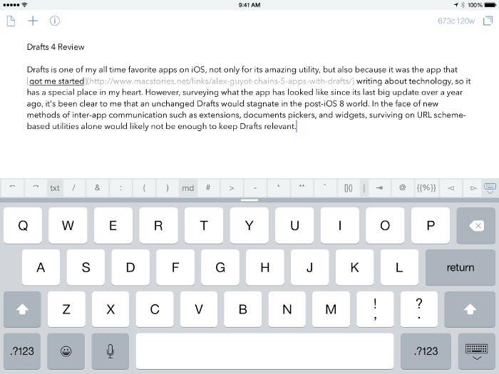 Drafts 4 en iPad
