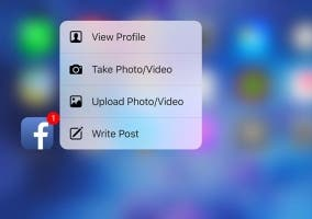 Menú de 3D Touch en la app de Facebook