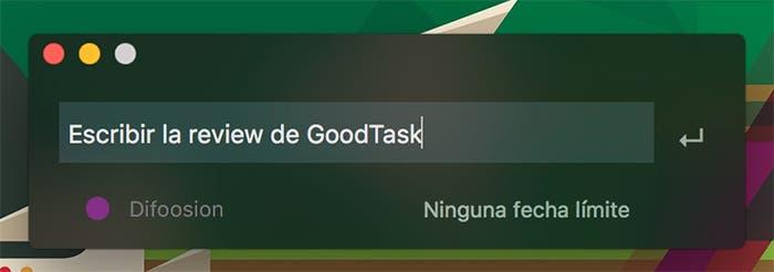 Añadir tarea en GoodTask