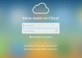 Panel de usuario y contraseña iCloud