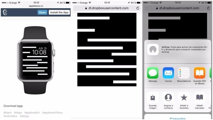 Captura de como descargar fondos desde Apple face