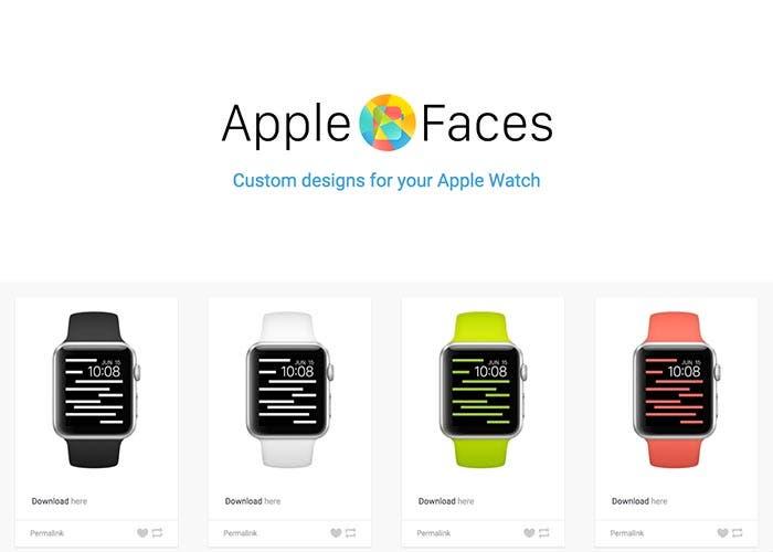 Captura de pantalla de la página web Apple Faces