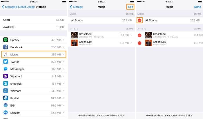 Eliminar todas las canciones desde iOS