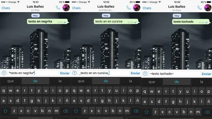 Cambiar formato de texto en WhatsApp