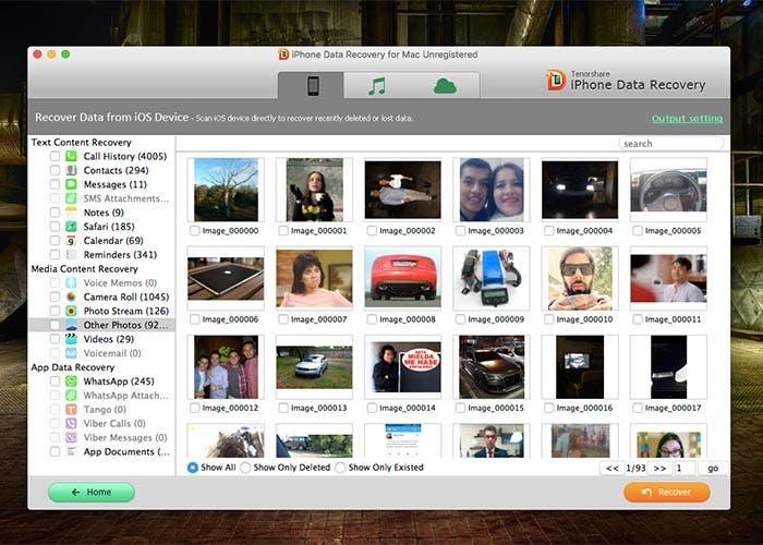 Captura de pantalla de Tenorshare iPhone Data Recovery para Mac