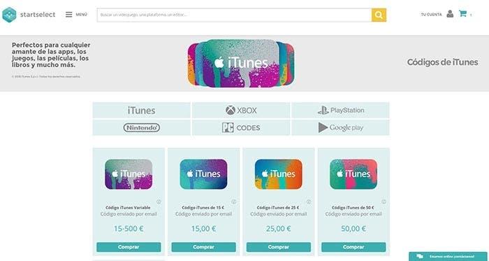 Tarjetas de iTunes en Startselect