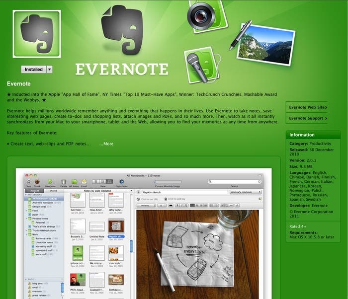 Evernote presenta bugs en Mac