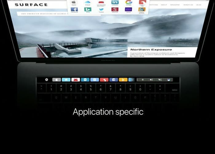 Touch Bar en el MacBook Pro 2016