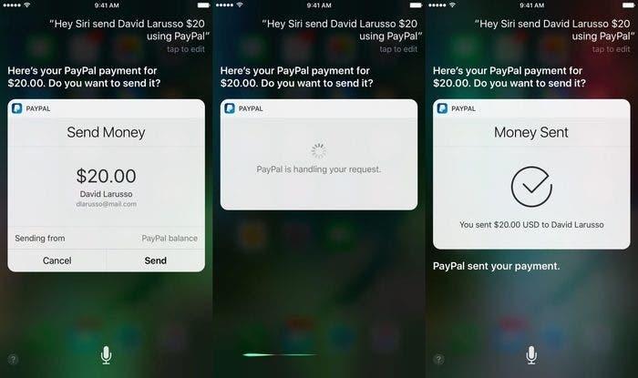 como enviar dinero desde PayPal usando Siri