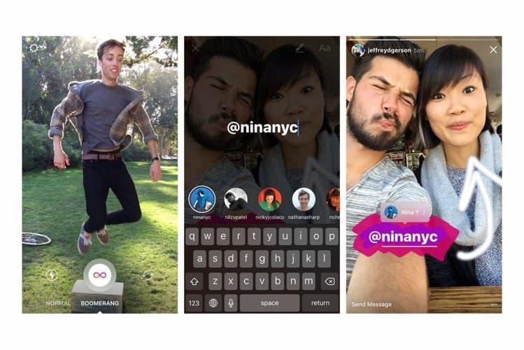 Stories de Instagram permite-enlaces menciones y Boomerang