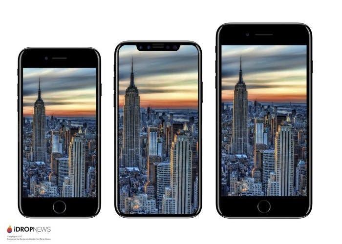 El tamaño del iPhone 8 sería intermedio entre el iPhone 7 y el iPhone 7 Plus