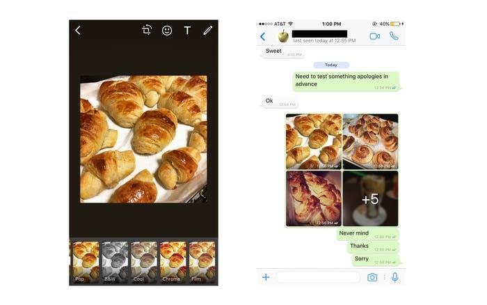 Filtros de WhatsApp en iOS