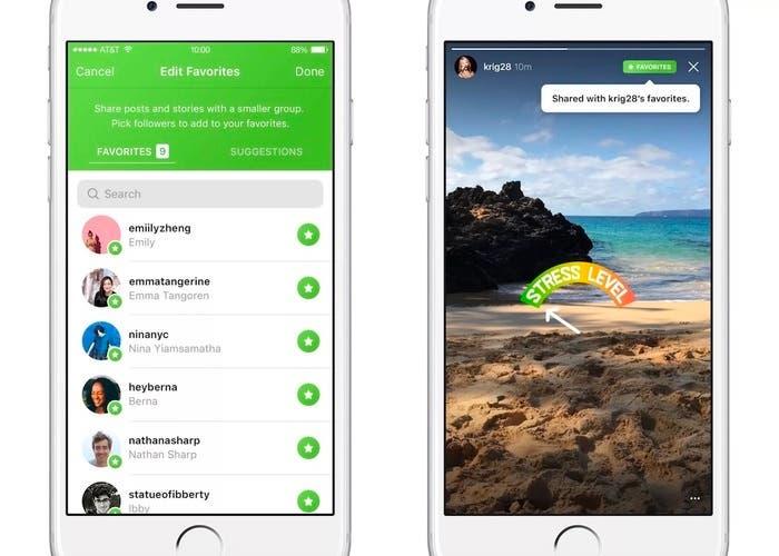 Instagram comienza a probar su funcion Favoritos