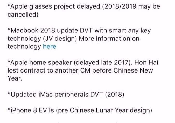 filtraciones proyectos apple 2018