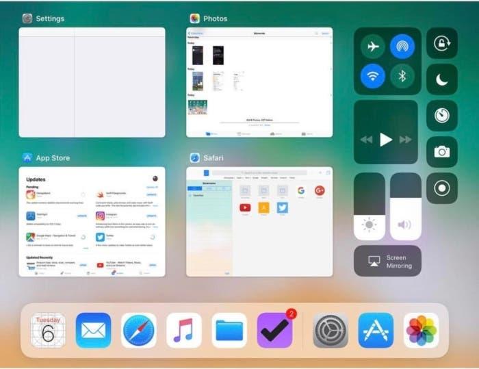 centro de control iPad ios 11