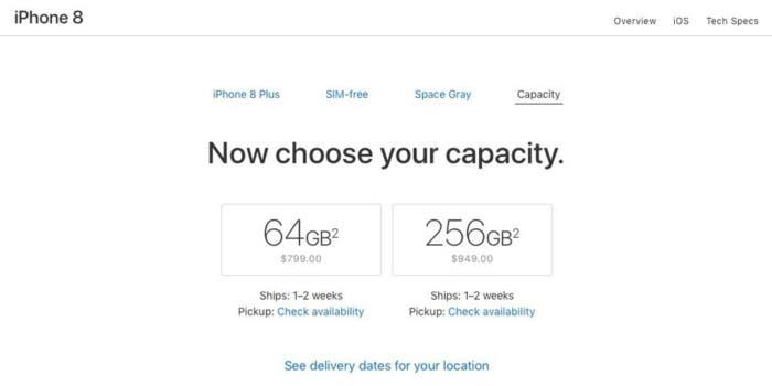 tiempo de envío del iPhone 8