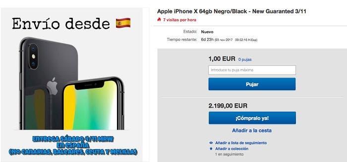 Precio de reventa del iPhone X
