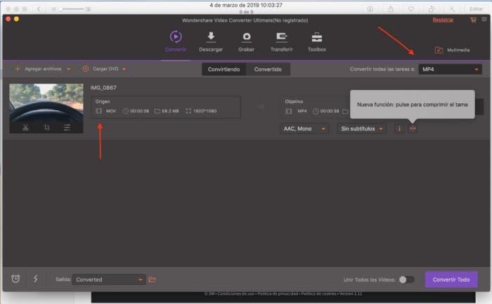 wondershare video converter añadir archivos