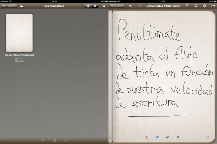 Dos capturas de pantalla sobre el funcionamiento de Penultimate en el iPad
