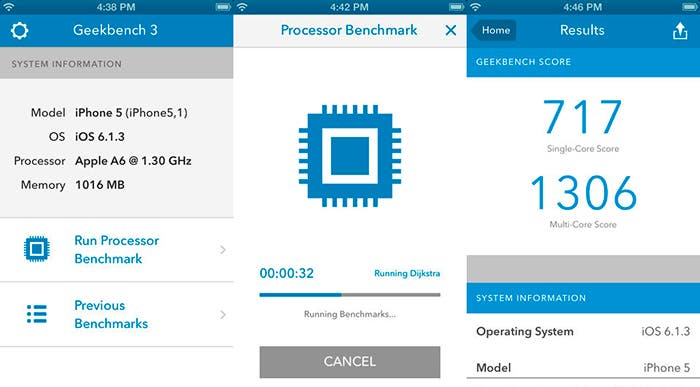 Capturas de pantalla de Geekbench 3 para iOS