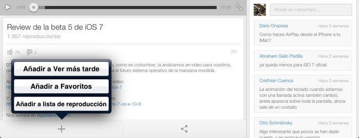 Uso de esta nueva función en YouTube for iOS