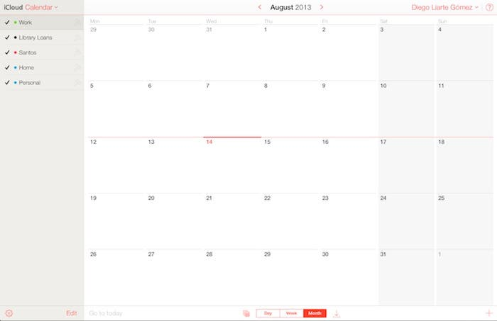 Calendario en iCloud.com beta