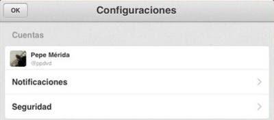 Parte del apartado de configuración de cuentas en Twitter para iPad