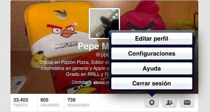 Pantalla de configuración de Twitter para iPad