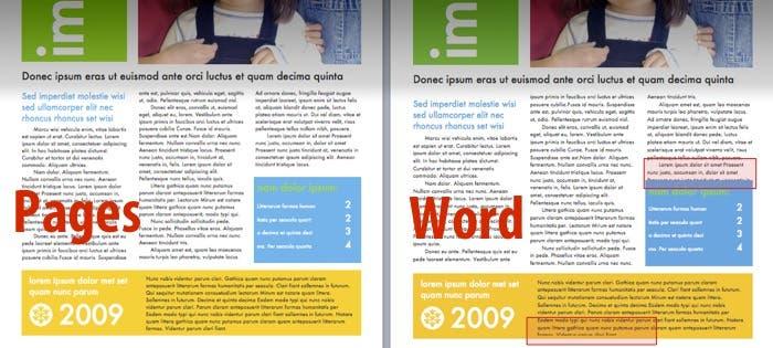 Desajuste documentos en Word y Pages
