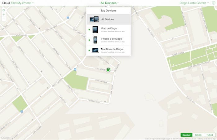 Find my iPhone en iCloud.com beta