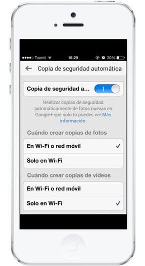Copia de seguridad automática de imágenes en Google+ para iOS