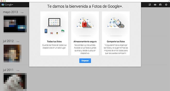 Fotos de Google+ funcionando en OS X