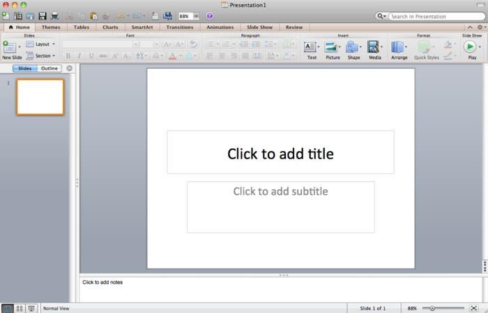 Interfaz de PowerPoint en Mac