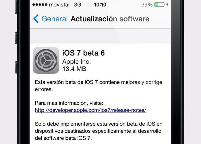 Pantalla de actualización de iOS 7 beta 6