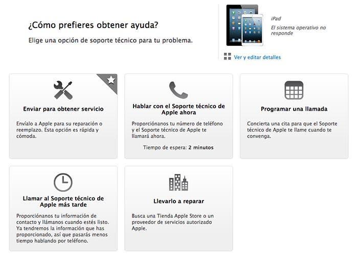 Web de soporte técnico del iPad