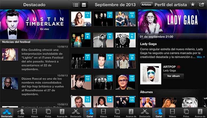 Capturas de la app iTunes Festival London 2013