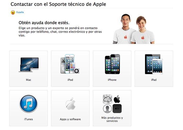 Web de soporte de Apple Care