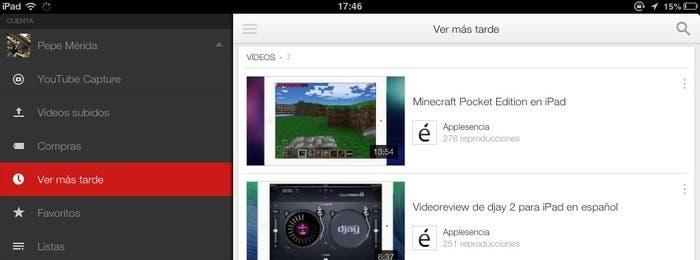 Como acceder a la lista de Ver más Tarde en Youtube for iOS