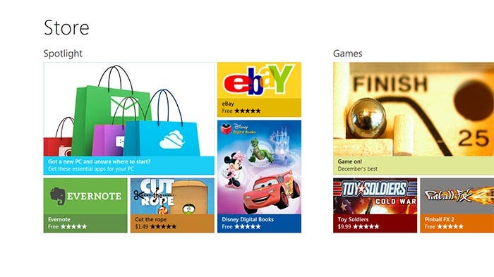 Captura de la Windows Store