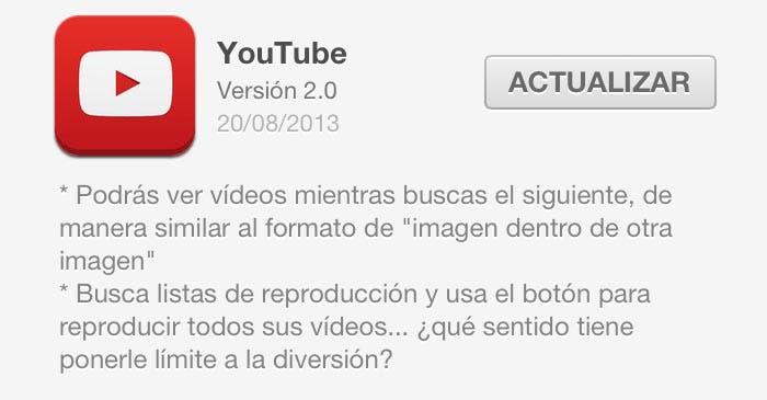 Actualización de YouTube en la App Store