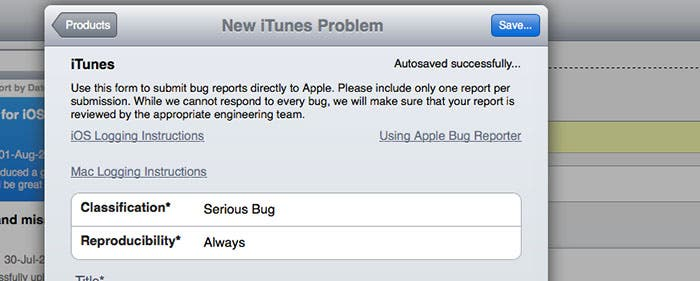 Captura de la herramienta de reporte de errores