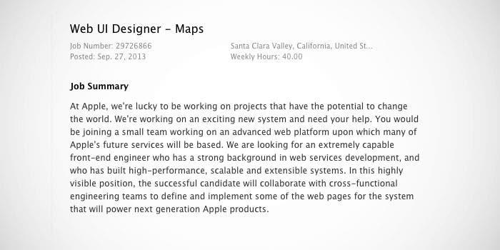 Oferta de trabajo publicada por Apple