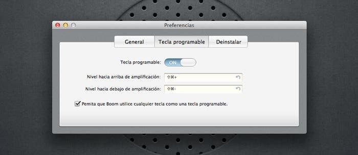 Atajos de teclado en Boom para OS X